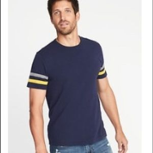 NWT Navy Striped Sleeve Football Tee